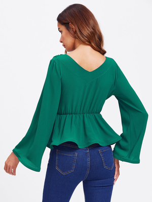 Bell Sleeve Wrap Blouse with Deep V Neck