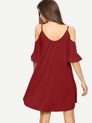 High Quality Clothes for Women O-neck Mini Dress Ruffle Women Big Sizes