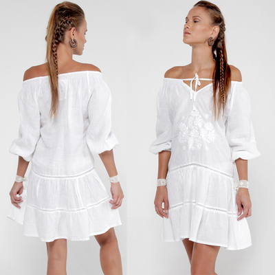 2018 Summer women off shoulder white dress