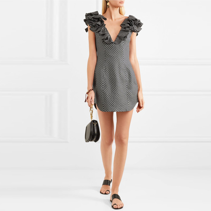 Slim Sexy Clothes Woman Fashion Casual Linen Ruffle Polka Dot Dress Women